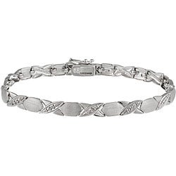 DB Designs Sterling Silver X and O Diamond Accent Bracelet