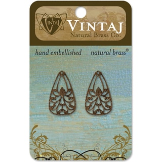 Vintaj Natural Brass 'Emblazonry' Metal Accents (Set of 2)