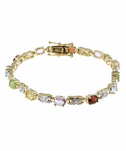 Glitzy Rocks 24k Goldplated Silver Gemstone Bracelet