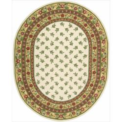 """Nourison Hand-Hooked Ivory Country Heritage Wool Rug (7'6"""" x 9'6"""" Oval)"""