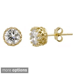Icz Stonez Polished Sterling Silver Cubic Zirconia Stud Earrings