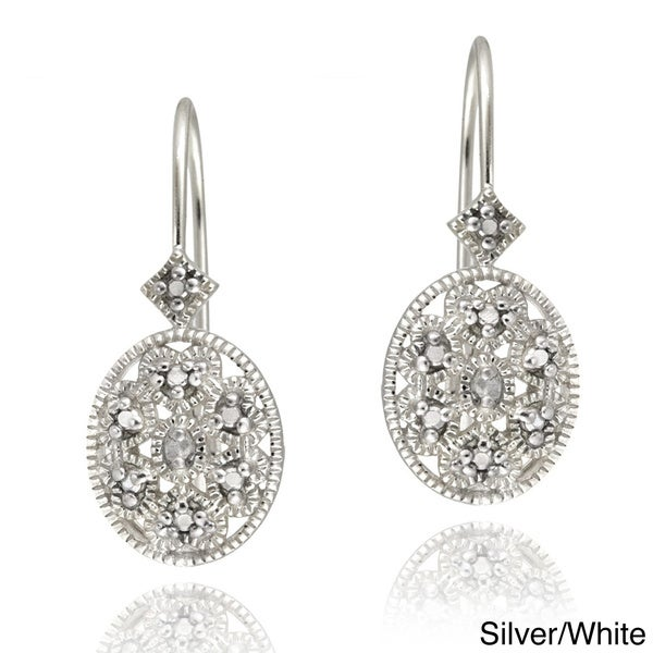 DB Designs Sterling Silver Diamond Accent Filigree Oval Leverback Earrings