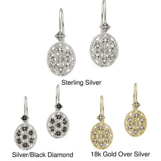 DB Designs Sterling Silver Diamond Accent Filigree Designed Oval Leverback Earrings