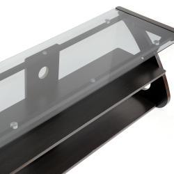 Sculpten Dark Brown MDF/ Steel Glass-shelved TV Stand