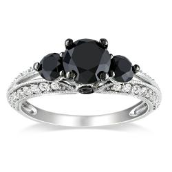 Miadora 10k White Gold 2ct TDW Black and White Diamond Ring (H-I, I2-I3)