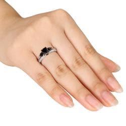 Miadora 10k White Gold 2ct TDW Black and White Diamond Ring (H-I, I2-I3)