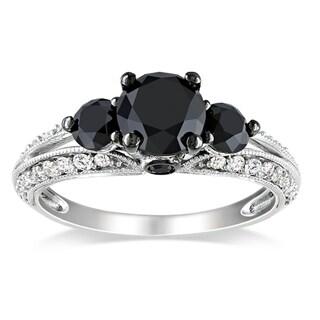 Miadora 10k White Gold 2ct TDW Black and White Diamond Ring (H-I, I2-I3) with Bonus Earrings
