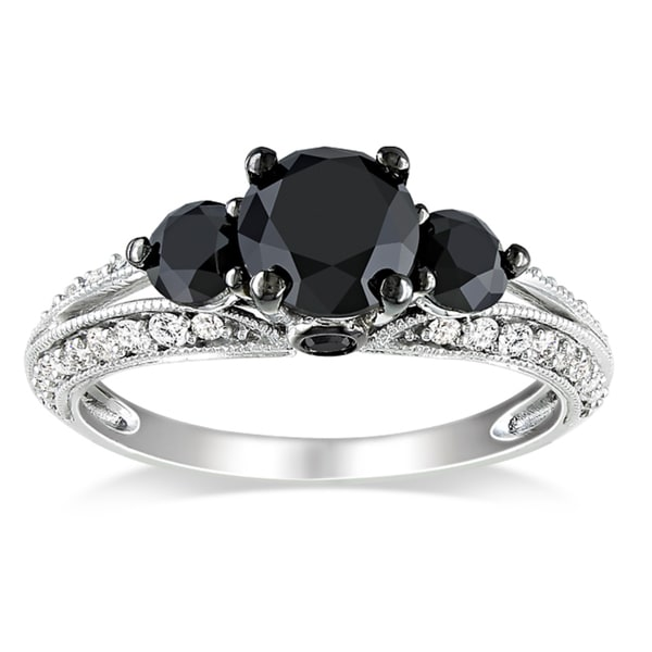 Miadora 10k White Gold 2ct TDW Black and White Diamond Bridal Ring (H-I, I2-I3)