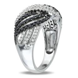 Miadora Sterling Silver 1ct TDW Black-and-white Buttercup Diamond Ring (H-I, I3)