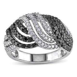 Haylee Jewels Sterling Silver 1ct TDW Black-and-white Buttercup Diamond Ring (H-I, I3)