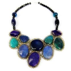 Round Purple/ Blue Agate Mosaic Bib Statement Necklace (Thailand)