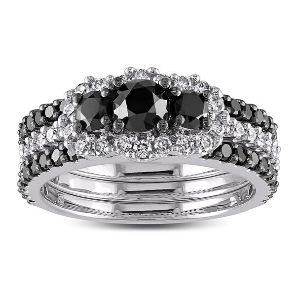 Miadora Signature Collection 2 CT Black and White Diamond TW Fashion Ring 10k White Gold GH I2;I3 Black Rhodium Plated