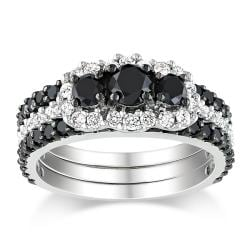 Miadora 10k White Gold 2ct TDW Black & White Diamond Ring Set (H-I, I2-I3)