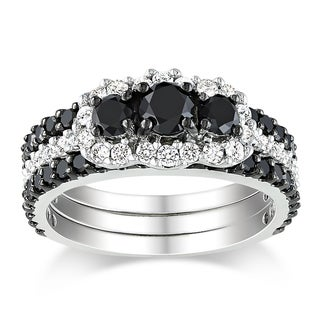 Miadora 10k Gold 2ct TDW 3-Piece Black and White Diamond Ring Set