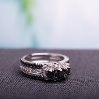 2 CT Black and White Diamond TW Fashion Ring 10k White Gold GH I2;I3 Black Rhodium Plated