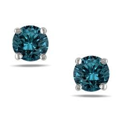 Miadora 14k White Gold 1/2ct TDW Blue Diamond Solitaire Stud Earrings (I1-I2)
