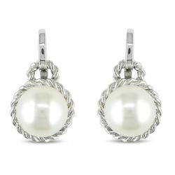 Miadora 14K White Gold Freshwater White Pearl Stud Earrings