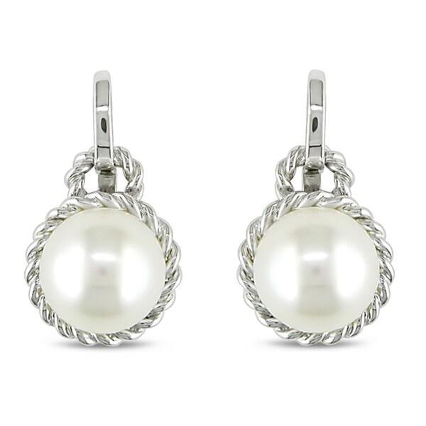 Miadora 14K White Gold White Cultured Freshwater Pearl Stud Earrings
