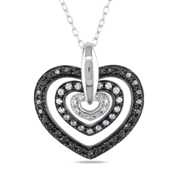 Miadora Sterling Silver 1/2ct TDW Black and White Diamond Heart Pendant (H-I,I3)