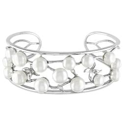 Miadora Sterling Silver Freshwater White Pearl Open Bangle