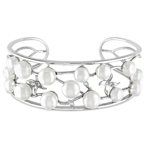 Miadora Sterling Silver Freshwater White Pearl Open Bangle
