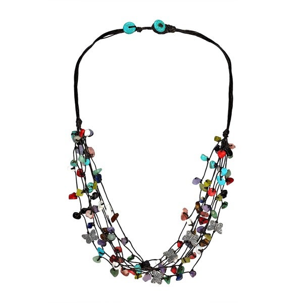Pewter Butterfly Multicolored Stone Cluster Strands Necklace (Thailand)