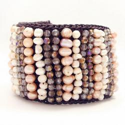 Freshwater Pearls and Crystal 'Wide Woven Paths' Bracelet (Thailand)