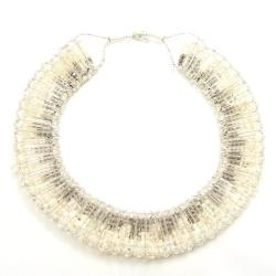 'White Treasures' Silver Crystal-Coral Dramatic Necklace (Thailand)