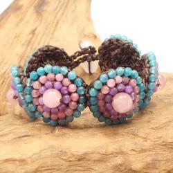 Mosaic Bubbles Beads Cotton Rope Bracelet (Thailand)