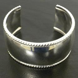 Silver Overlay Smooth Cuff Bracelet (Mexico)