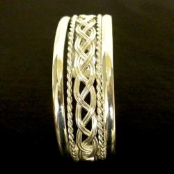 Mexican Artisan Handmande Braided Silver-overlay Cuff Bracelet