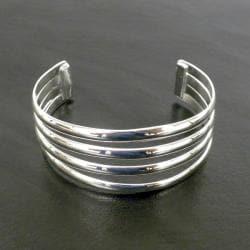 Women's Handmade Mexican Four-bar Silver Overlay Cuff Bracelet