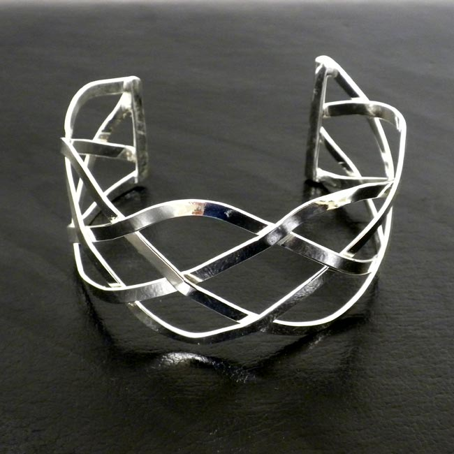 Handmade Silver-overlay Woven-design Slip-on Cuff Bracelet (Mexico)
