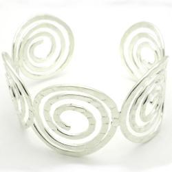 Silver Hammered Spirals Overlay Cuff Bracelet (Mexico)