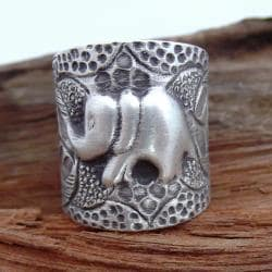 Thai Karen Hill Tribe Jungle Vine Elephant Silver Ring (Thailand)