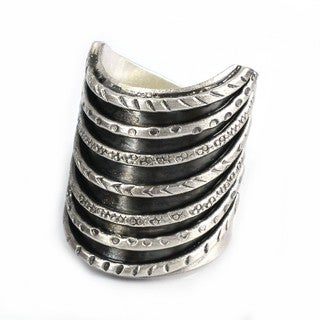 Thai Karen Hill Tribe Tribal Stack Illusion Handmade Silver Ring (Thailand)