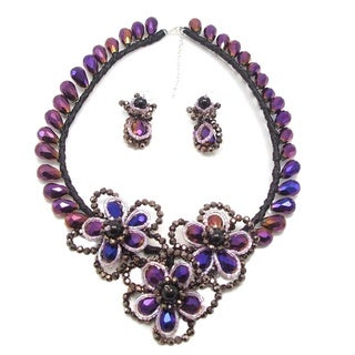 Blooming Purple Gleam Floral Crystals Jewelry Set (Thailand)