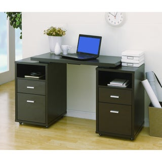 Cappuccino 4-drawer Extendable Office Desk