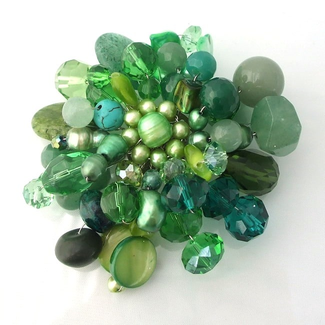 'Green Fusion' Jade Aventurine Pearl Floral Brooch (Thailand)
