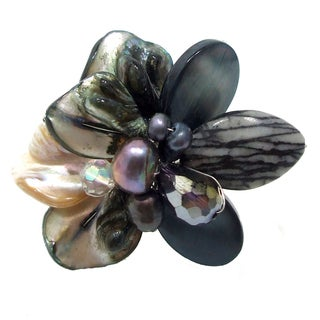 Black Cluster Sensation Mother of Pearl Free Size Cocktail Ring (Thailand)