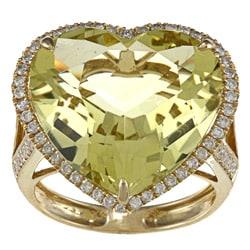 18k Gold Lemon Quartz and 5/8ct TDW Diamond Heart Ring (H-I, SI1- SI2)