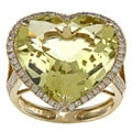 18k Gold Lemon Quartz and 5/8ct TDW Diamond Heart Ring (H-I, SI1- SI2)