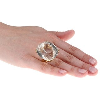18k Yellow Gold Topaz Handmade Cocktail Estate Ring