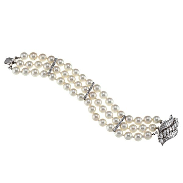 Pre-owned Platinum Art Deco FW Pearl and 4ct TDW Diamond Estate Bracelet (G-H, VS1-VS2)