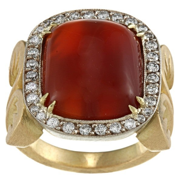 Pre-owned 18k Gold Carnelian and 3/4ct TDW Diamond Estate Ring (H-I, SI1-SI2)