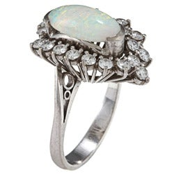 18k White Gold Opal and 1 1/4ct TDW Diamond Estate Ring (I-J, SI1-SI2)