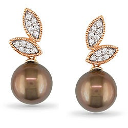 Miadora 10k Pink Gold Tahitian Pearl and 1/6ct TDW Diamond Earrings (H-I, I2-I3)