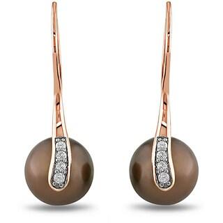 Miadora 10k Pink Gold Tahitian Pearl and 1/10ct TDW Diamond Earrings (H-I, I2-I3)
