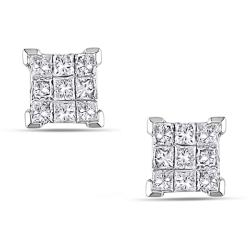 Miadora 14k Gold 1/2ct TDW Princess Diamond Stud Earrings (H-I, I1-I2)