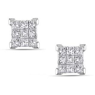 Miadora 14k Gold 1/2ct TDW Princess Diamond Stud Earrings (H-I, I1-I2)